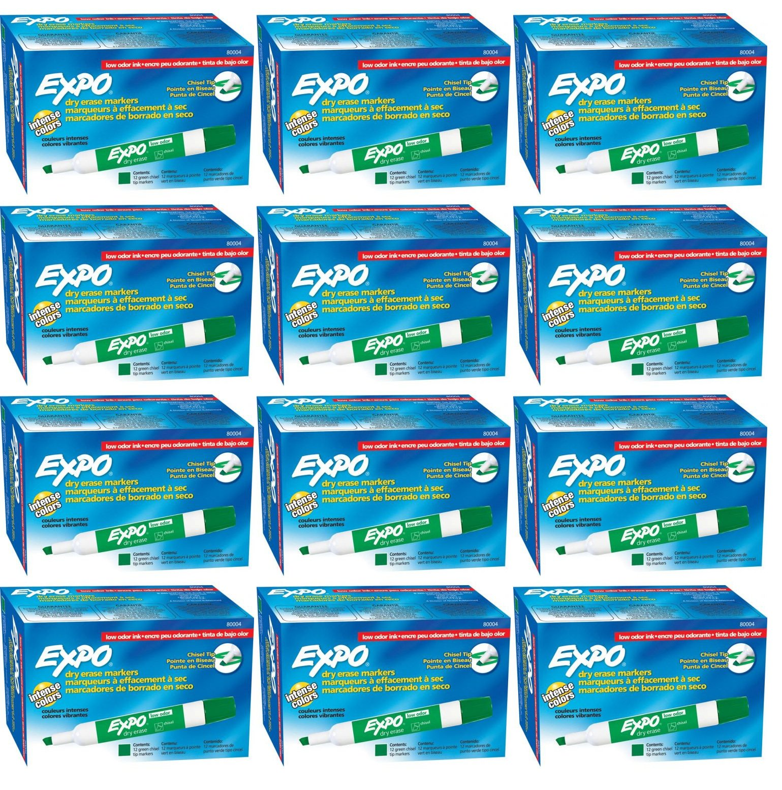 Expo 80004 Low Odor Dry Erase Markers, Chisel Tip, Green Color, 12 Sets with 12 Markers, Total of 144 Markers by Expo (Image #4)
