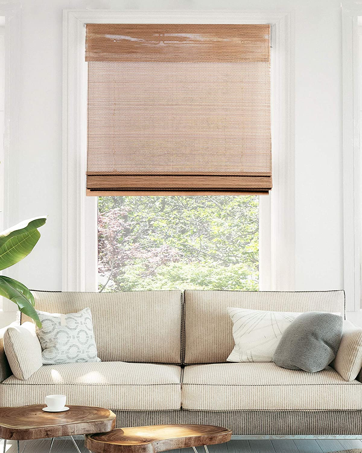 Chicology Cordless Bamboo Roman Shades Light Filtering Window Treatment Perfect Resort Feel For Living Dining Room Bedroom And More 23 W X 64 H Acorn Home Kitchen