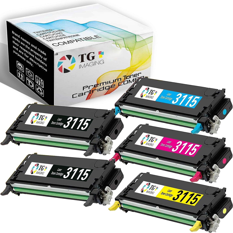 (2B+CYM, 5 Pack Value Set) TG Imaging Compatible for Dell 3115 3110 Toner Cartridge Work in Dell 3110 3110cn 3115 3115cn Printer