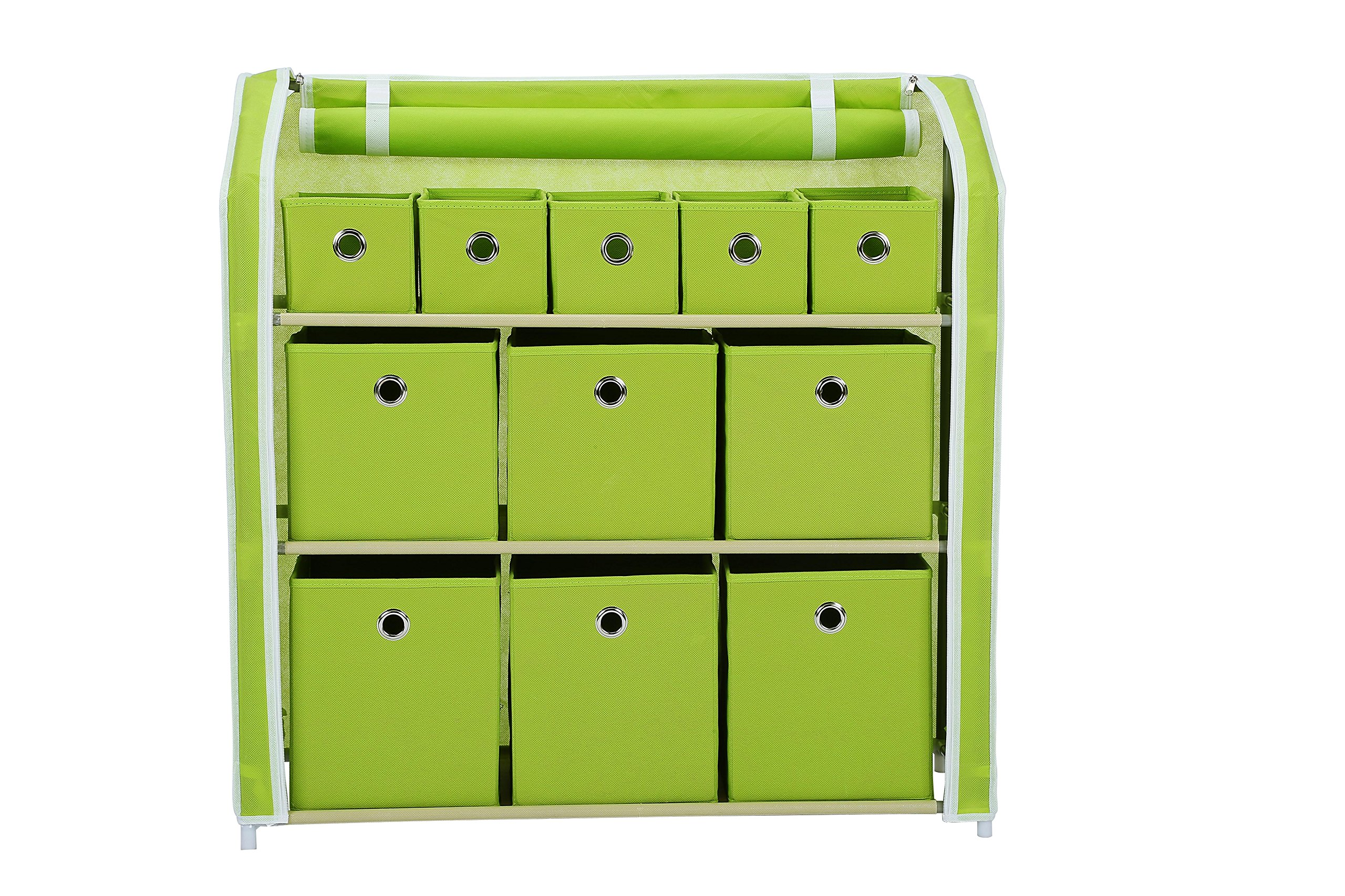 Home-Like 11-Drawer Storage Unit Multi-Bin Toy Organizer DIY Storage Cabinet Multi-Purpose Storage Chest Metal Shelf with Removable Fabric Bins Ideal for Home Office Bedroom Green (11 Drawer-Green)