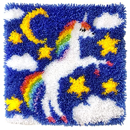 Beyond Your Thoughts Latch Hook Kits For Diy Throw Rug Carpet Unicorn With Pattern Printed 16x16 Inch Crochet Needlework Crafts For Kids And Adults