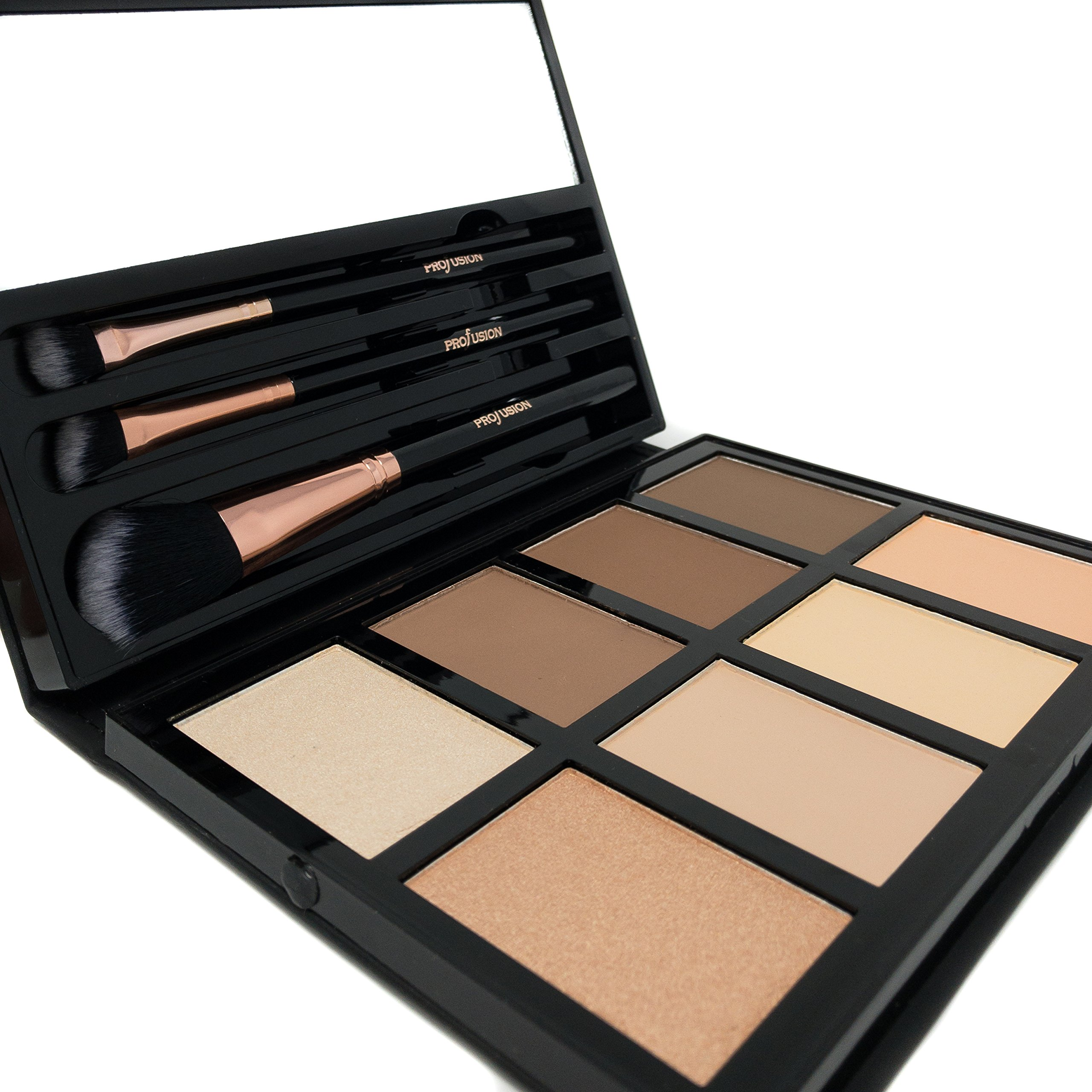 Profusion Cosmetics - Contour - Professional 8 Color Palette - Face Powder Highlighter Bronzer Makeup Kit Brushes Included - Champagne Highlight Nutmeg Ivory Peach Pale Gala Moonstone Java Ebony by Profusion Cosmetics (Image #7)
