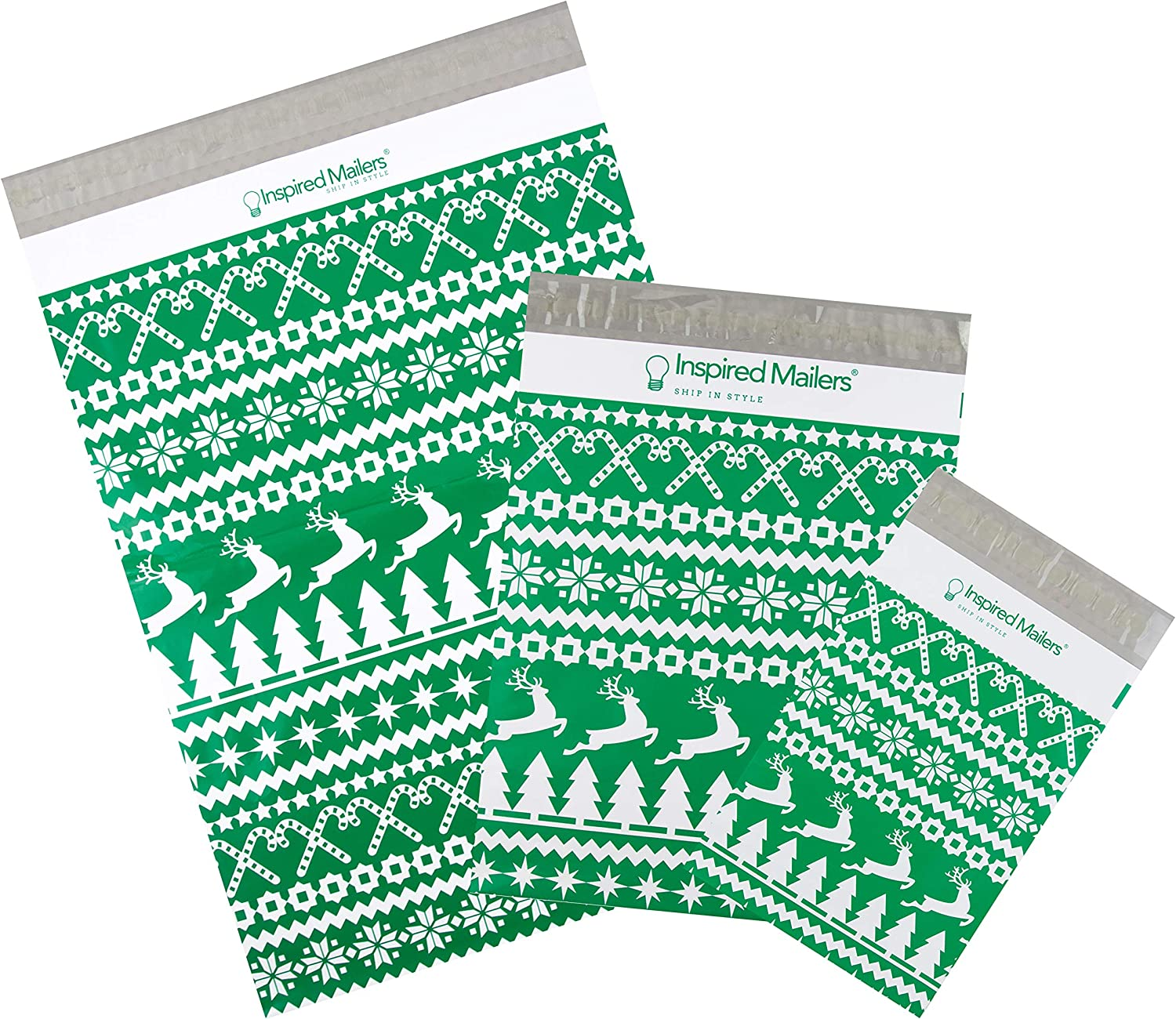 Inspired Mailers - Holiday Poly Mailers Variety Pack of 30 (10 Each: 6x9, 10x13, 14.5x19 Sizes) - Christmas Sweater - Holiday Mailing Bags - Cute Packaging Envelopes