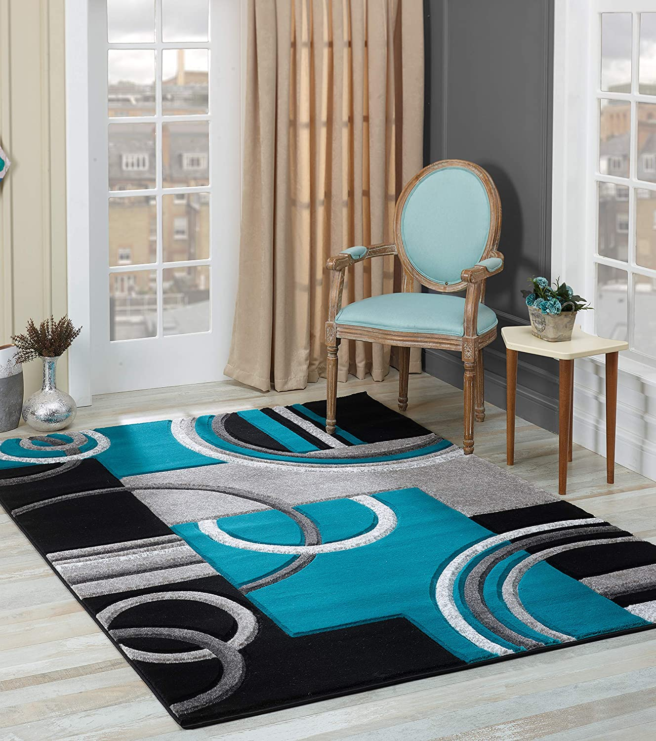 Golden rugs soft black turquoise hand carved modern contemporary 52 x 75 floor rug with premium fluffy texture for indoor living dining room and