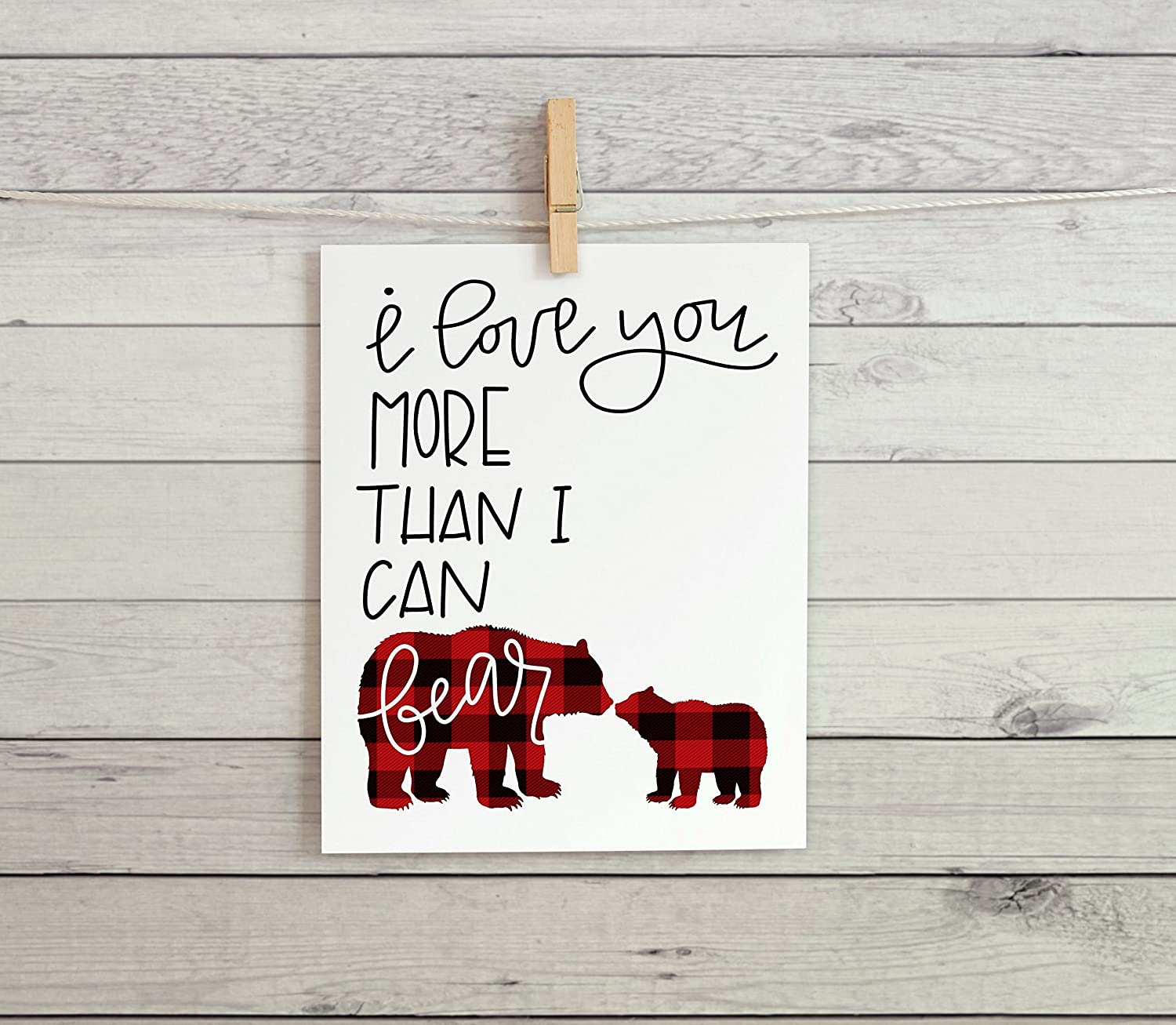 Nursery Cardstock Print 8.5 x 11 I love you more than I can bear (Red Plaid)