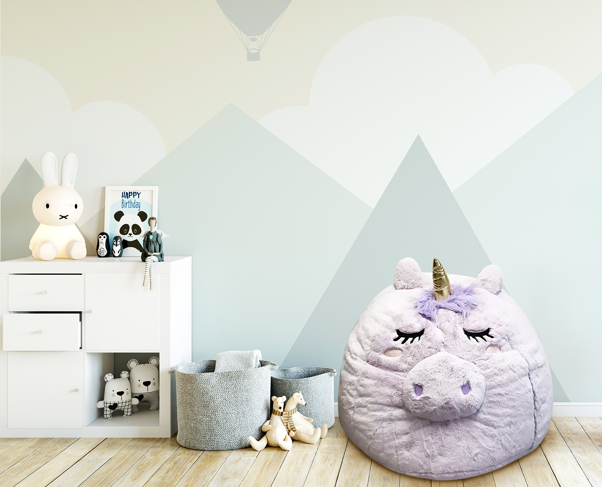 Beanbag For Kids: Soft And Comfortable Stuffed Bean Bag Chair For The Nursery, Cute Animal Design For Boys And Girls, Lux Plush Fabric, For Children Of All Ages 30'' x 30'' x 20'' (Unicorn) by Great Home Discounts
