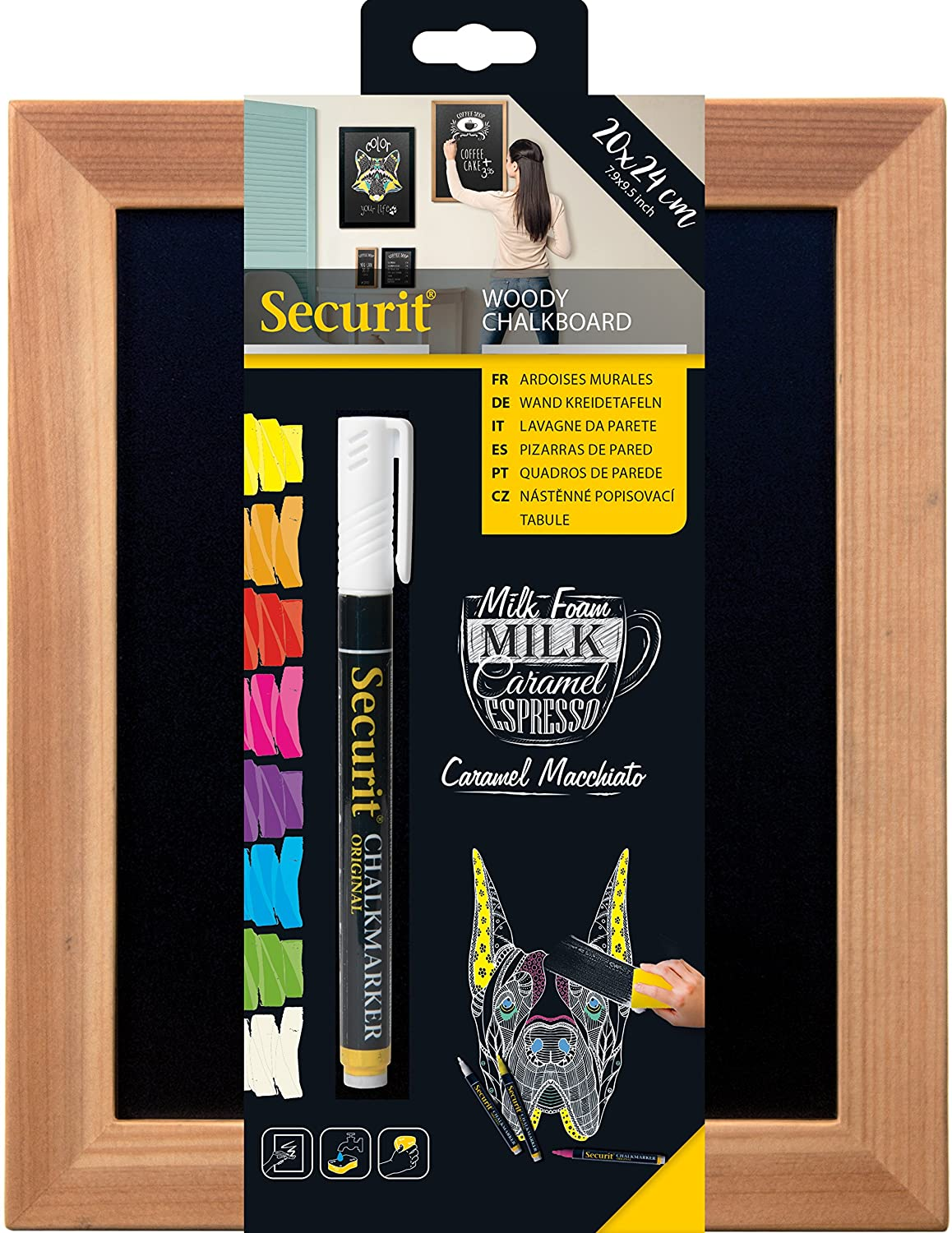 Amazon.com : Securit Woody 20x24cm Wall Chalk Board- Teak by ...