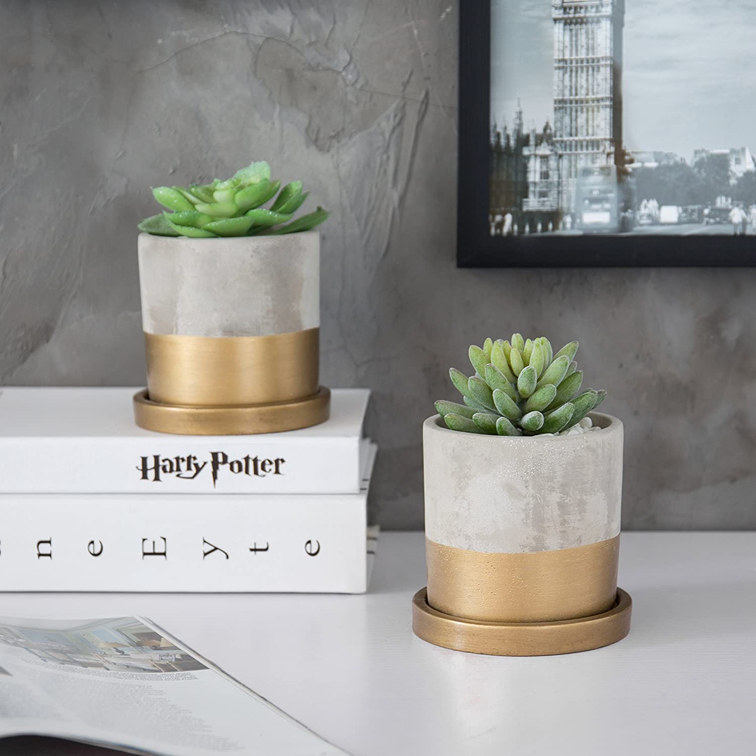 MyGift Cylindrical Cement Gold-Tone Mini Planters with Drip Trays, Set of 2