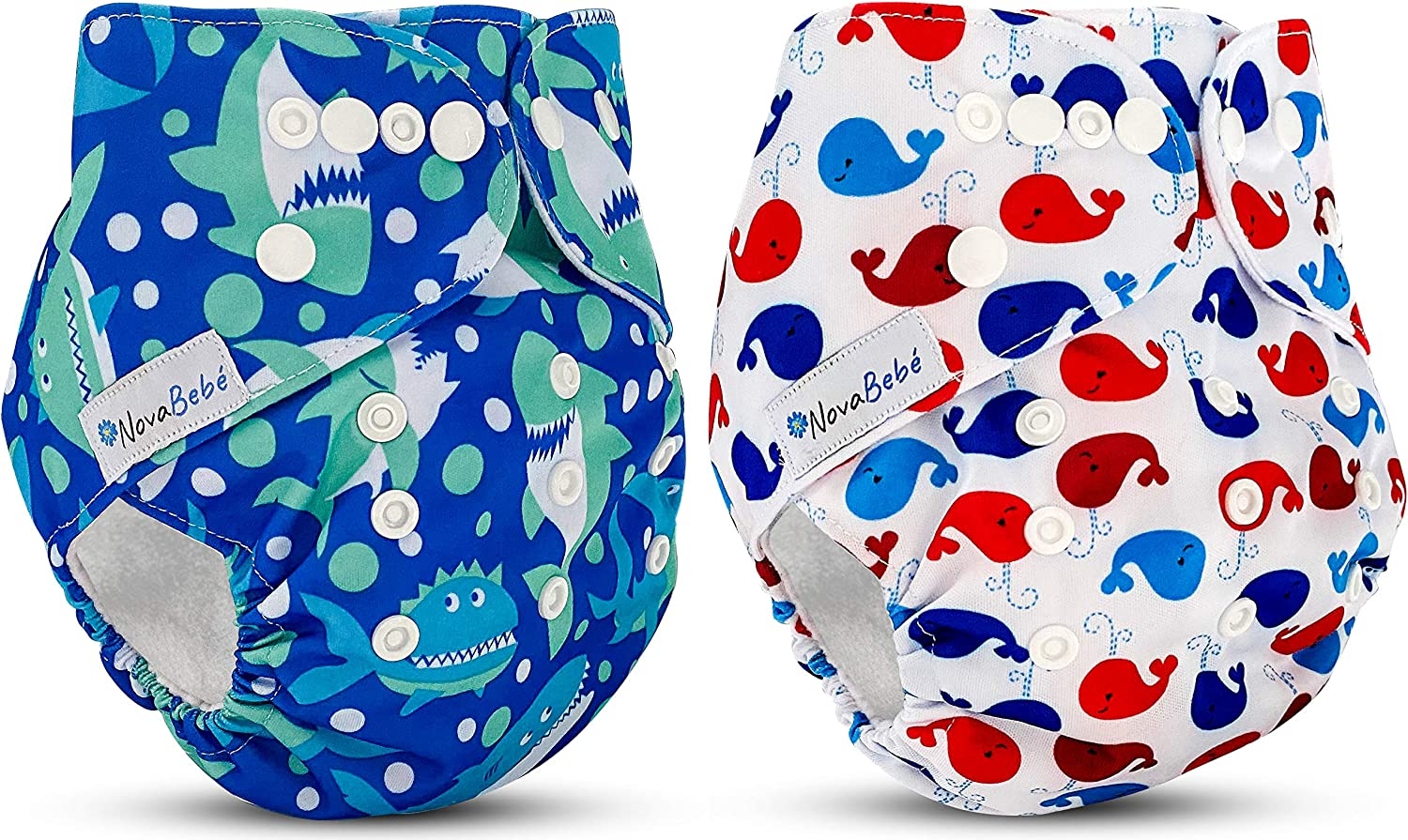 NOVABEBÉ♥ Cloth Diapers Washable / Reusable Baby Swim Diapers, Pañales Ecologicos Lavables Babies / Toddlers (8 –36 lbs) (for Boys) Reusable Diapers Made with Quality (Shark-Whale) Without Insert