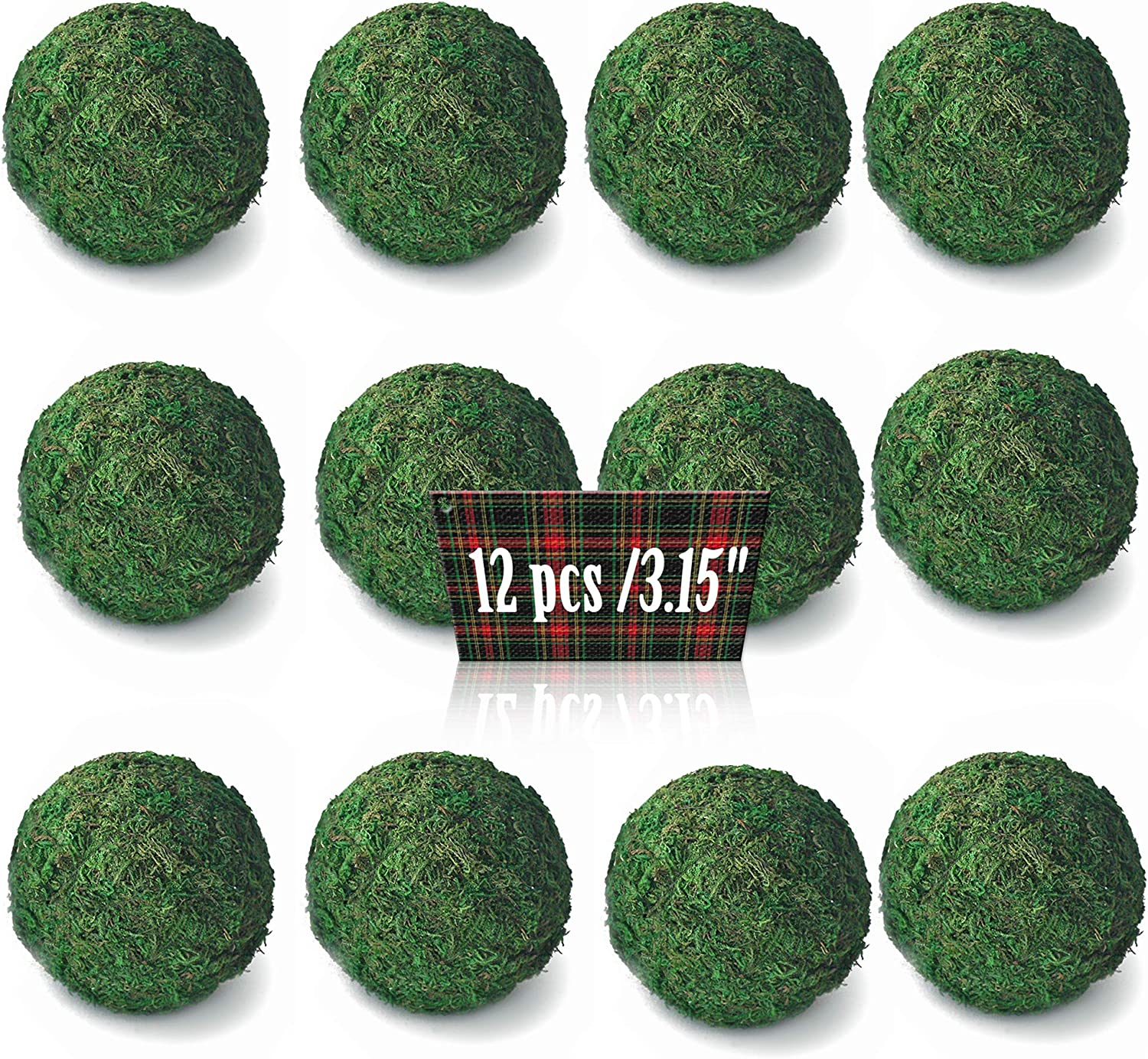 Qingbei Rina Dried Authentic Green Moss Ball Table Decor (3.15 inches,Set of 12)