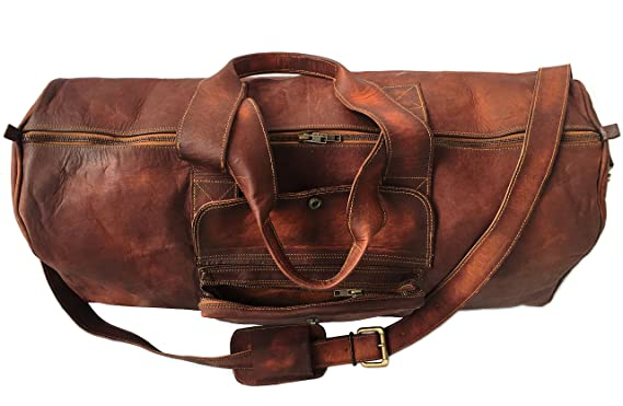 7326580d14 Image Unavailable. Image not available for. Color  BROCODE 24 Inch Goat Real  Leather Duffel bag Vintage Leather Bag Travel Bag Overnight Weekend Holdall