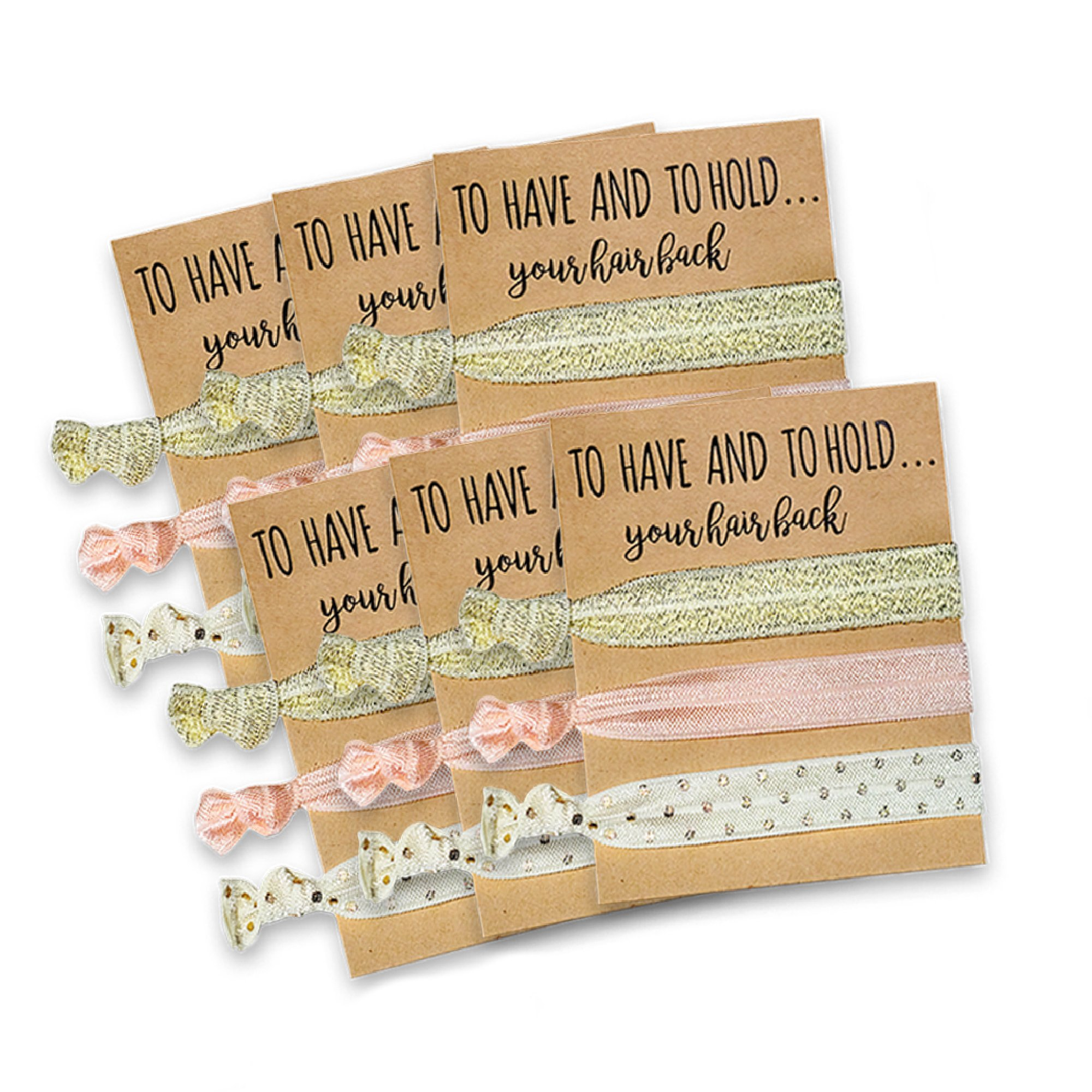 Bridesmaid Gifts Set of 6 Hair Tie Cards | Bachelorette Party Favors | Wedding Party Favors | Bridal Shower Favors by Pop Fizz Designs