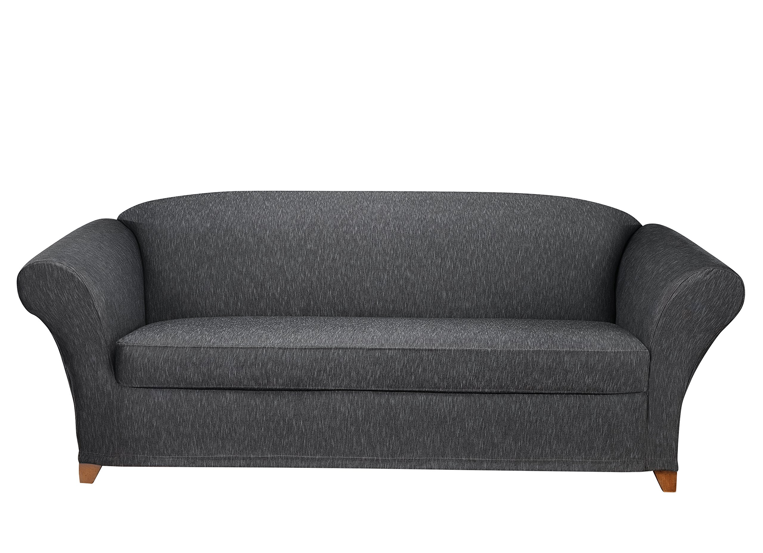Sure Fit Stretch Denim Separate Seat Sofa Slipcover - Black