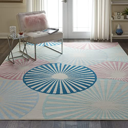 Nourison GRF20 Grafix Contemporary Geometric Ivory Multi Area Rug 7 10 X9 10 , 8 x 10