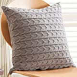 Sanifer Double-Side Cable Knit Decorative Throw Pillow Cover for Bed Couch (Cover Only, Gray)