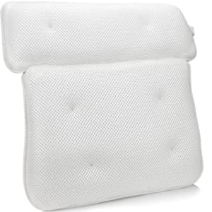 """Sierra Concepts Bliss Luxury 3D Mesh Spa Bath Pillow for Bathtub, Spa with Six Strong Grip Suction Cups - Soft, Comfortable & Quick Dry for Neck, Head, Shoulder Ergonomic Support (14"""" x 14"""")"""