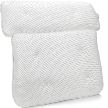 Mesh Bath Pillow Spa Pillow For Tub Bathtub With Suction Cup Neck Back Support J