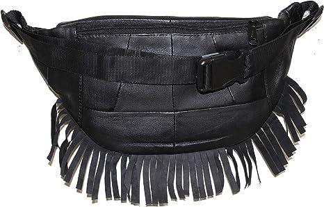 Forklift Black Leather Fanny Pack Adjustable Travel Bum Bag Festival Gift 560