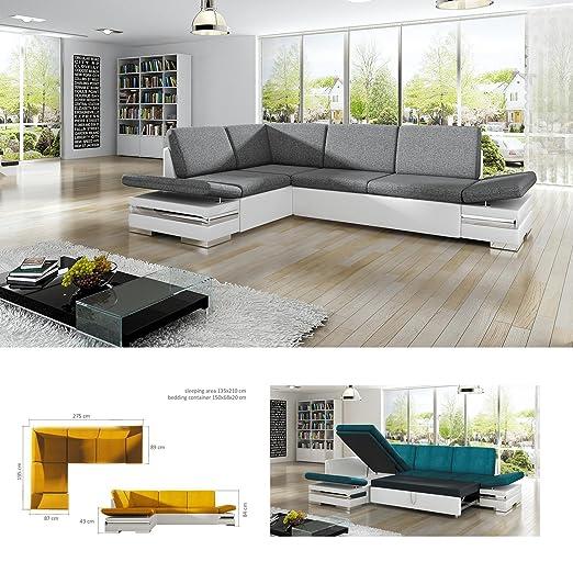 BMF Latino Lux blanco y gris de piel sintética para cama ...