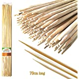 Jumbo Sticks 70cm Long Bamboo XL Coating-Free Marshmallow Skewers - All-Natural, No Residue, Soft & Smooth Wooden Roasting Canes for Campfires (110pcs): Perfect for Camping, Bonfires, Braziers, BBQs or Gardening Supports