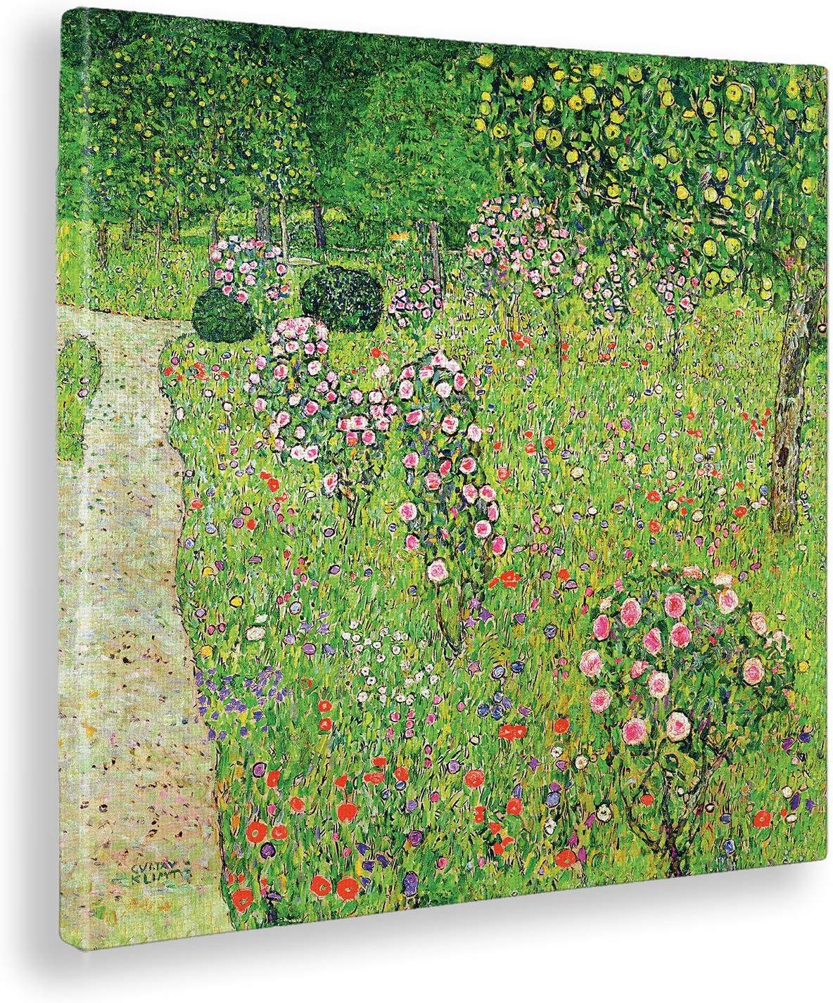 Giallobus - Cuadro - Gustav Klimt - Huerto con Rosas -Estampado en Lienzo - Listo para Colgar - Varios tamaños - 70x70 cm