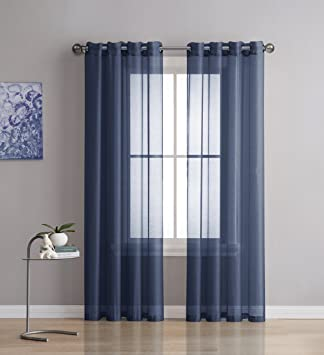 Curtains Ideas 54 inch long curtain panels : Amazon.com: Grommet Semi-Sheer Curtains - 2 Pieces - Total Size ...