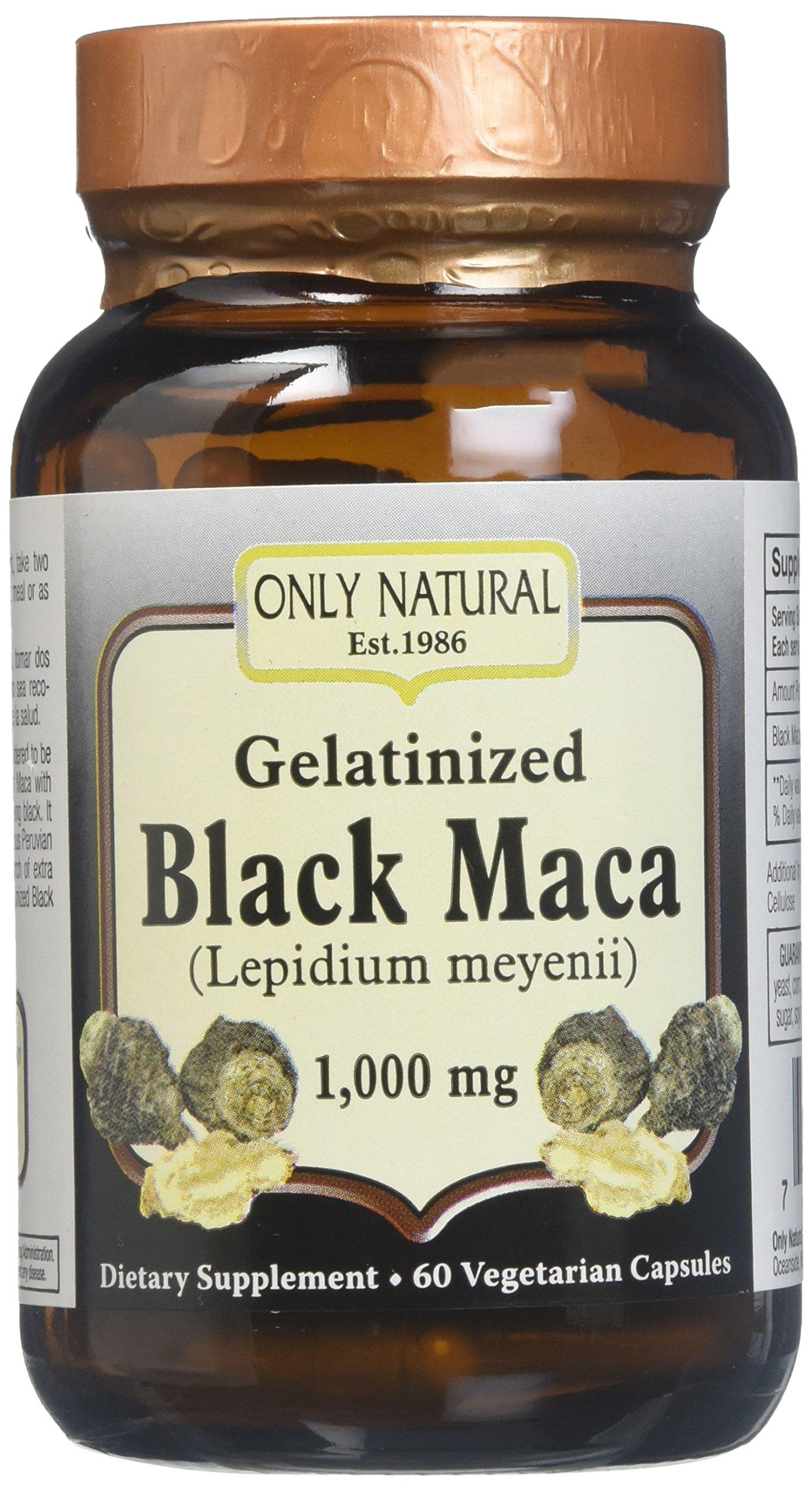ONLY NATURAL Gelatinized Black Maca 1000 mg 60 Vgc, 0.02 Pound