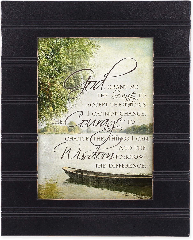 Cottage Garden The Serenity Prayer Boat on a Lake Black 8 x 10 Sentimental Framed Art Plaque - Holds 5x7 Photo