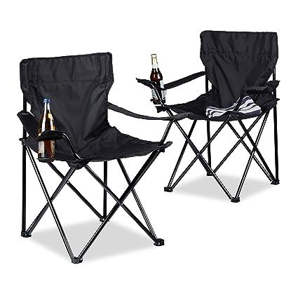Relaxdays Chaise de camping pliable avec accoudoirs porte-boisson lot de 2 fauteuils HxlxP: 82 x 78 x 50 cm