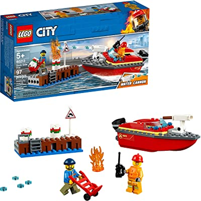 LEGO City Dock Side Fire 60213 Building Kit (97 Pieces): Toys & Games