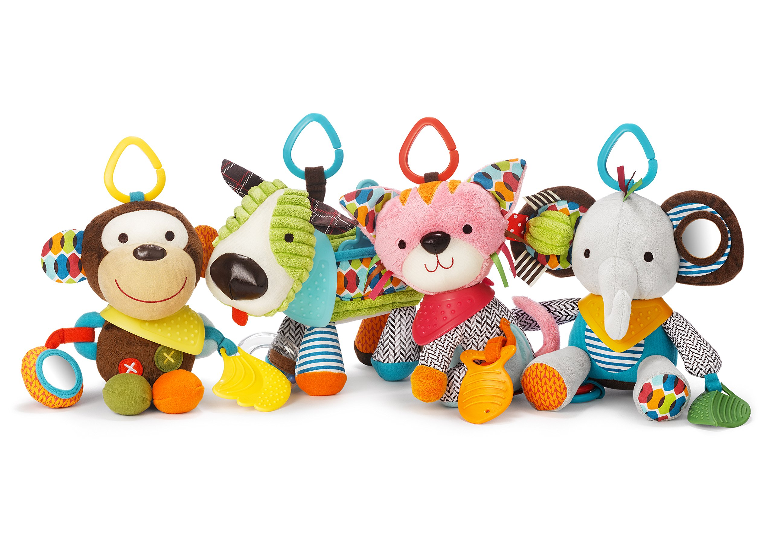 Skip Hop Bandana Buddies Baby Activity and Teething Toy with Multi-Sensory Rattle and Textures, Raccoon