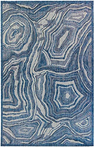 Liora Manne Indoor Outdoor Rug, 7 10 x 9 10 , Agate Navy