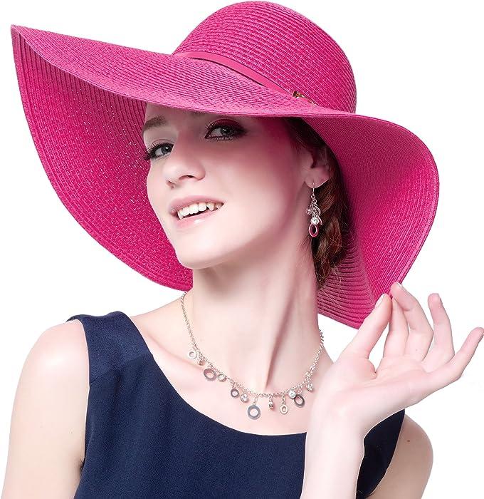 2471cdfb69ee3 Damen Frauen Sonnenhut Stroh Hut Groß Krempe Faltbar Einfarbig UV Schutz  Sonnenschutz Sommer für Outdoor-Aktivitäten