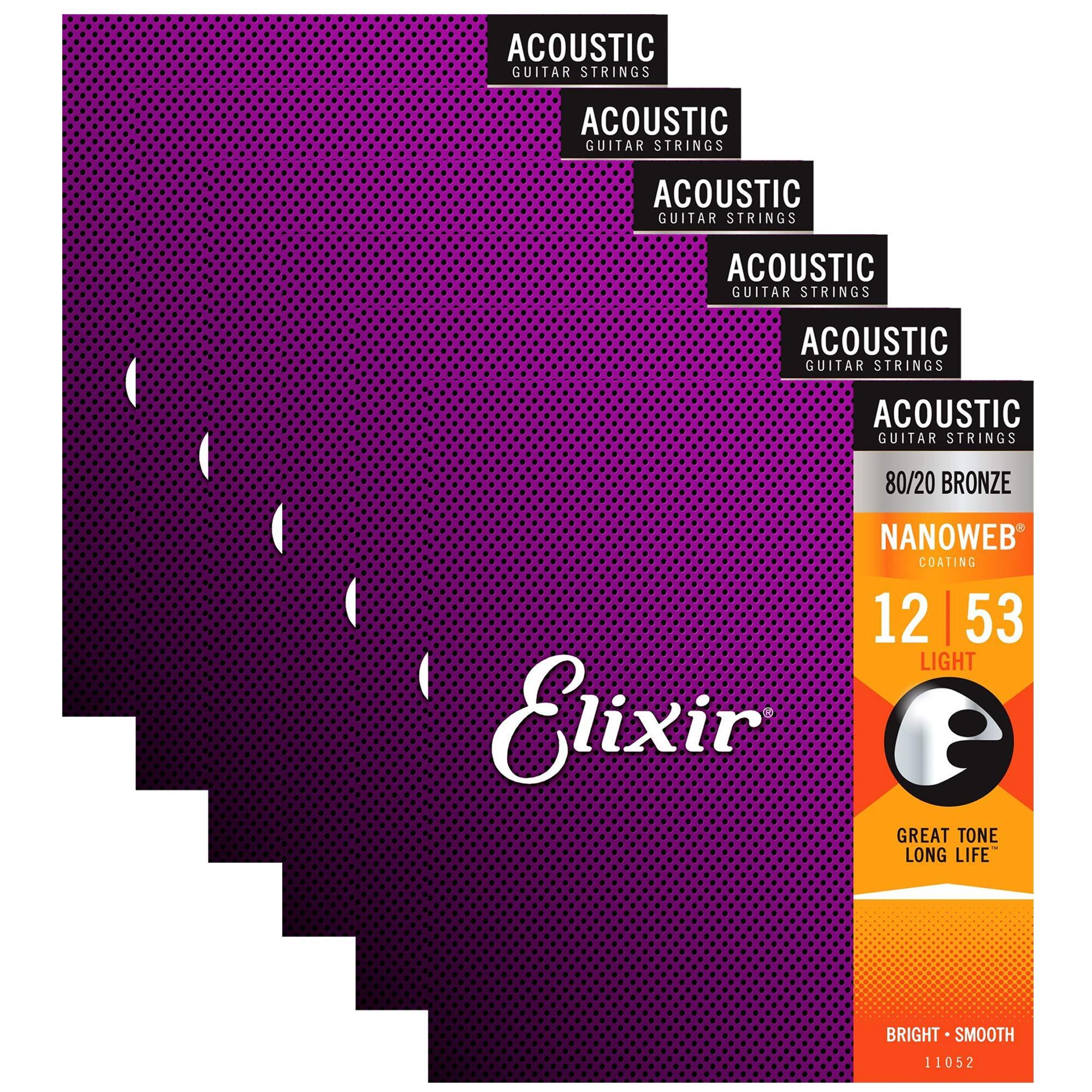 Elixir 11052 Acoustic 80/20 Nano Light 12-53 (6 Pack Bundle) by Elixir