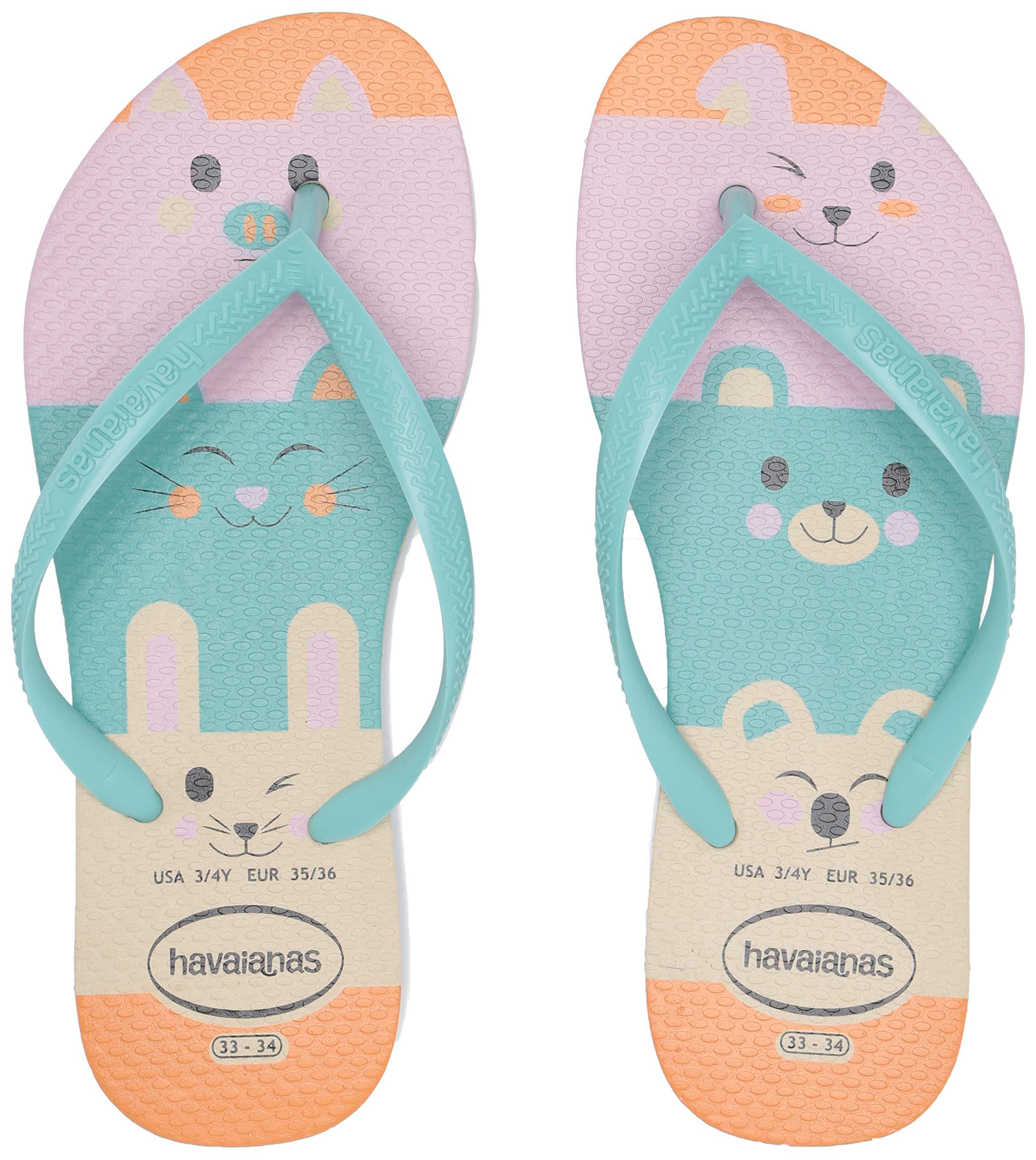 Havaianas Kid's Slim Fun Flip Flop Sandal, Beige, 3/4 M US Little Kid by Havaianas