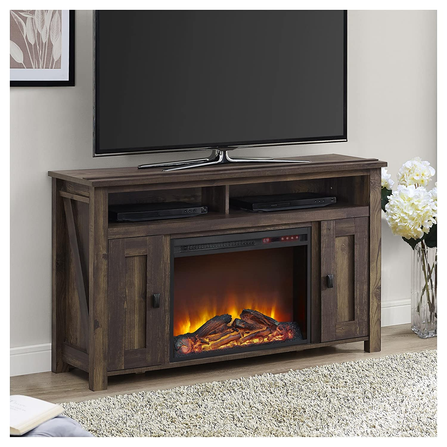 amazon com ameriwood home farmington electric fireplace tv