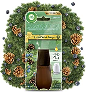 Air Wick Essential Mist, Essential Oils Diffuser, Fresh Pine and Juniper, 1ct, Fall scent, Fall spray, Air Freshener