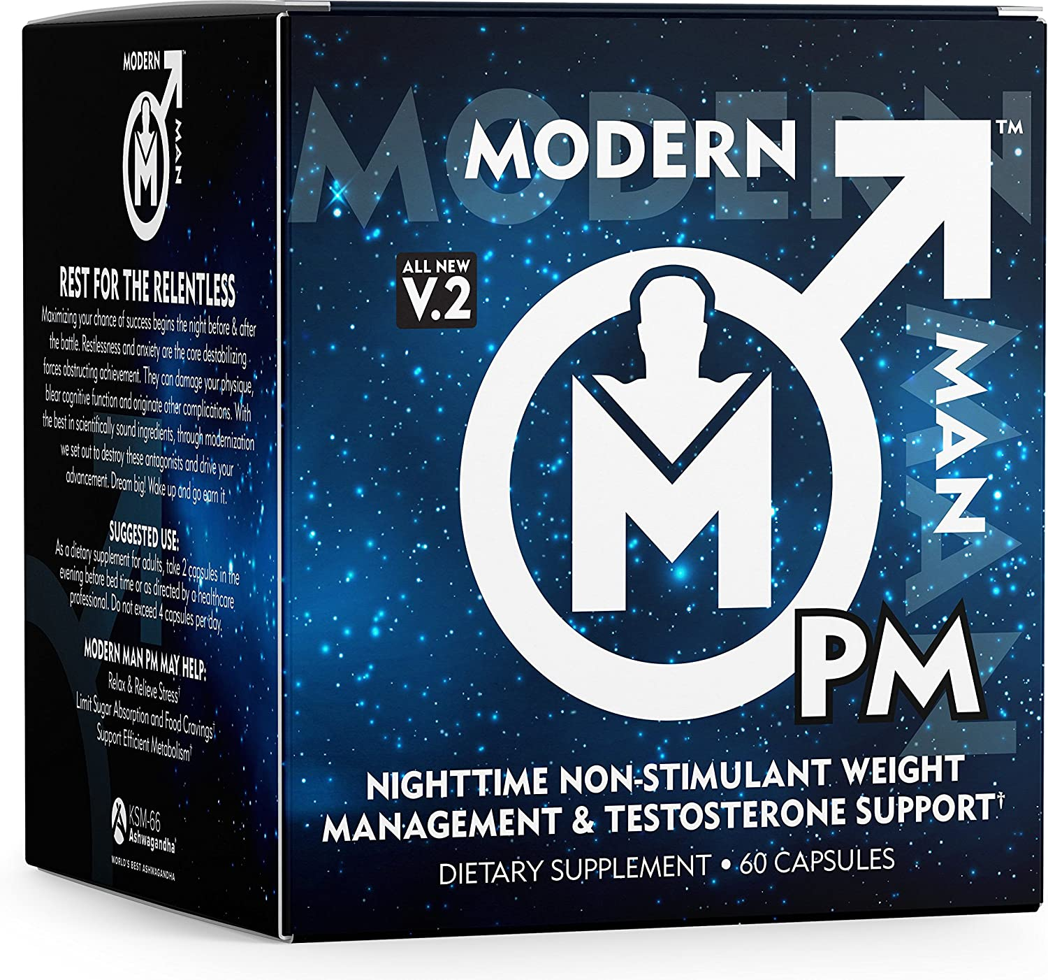 Modern Man PM Fat Burner – Sleep Aid, Weight Loss Testosterone Booster for Men, Best Night Time Metabolism Booster Caffeine Free Sleep Supplement Burn Belly Fat Build Lean Muscle, 60 Pills