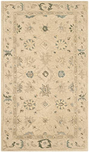 Safavieh Anatolia Collection AN572A Handmade Traditional Oriental Taupe and Blue Wool Area Rug 2 x 3