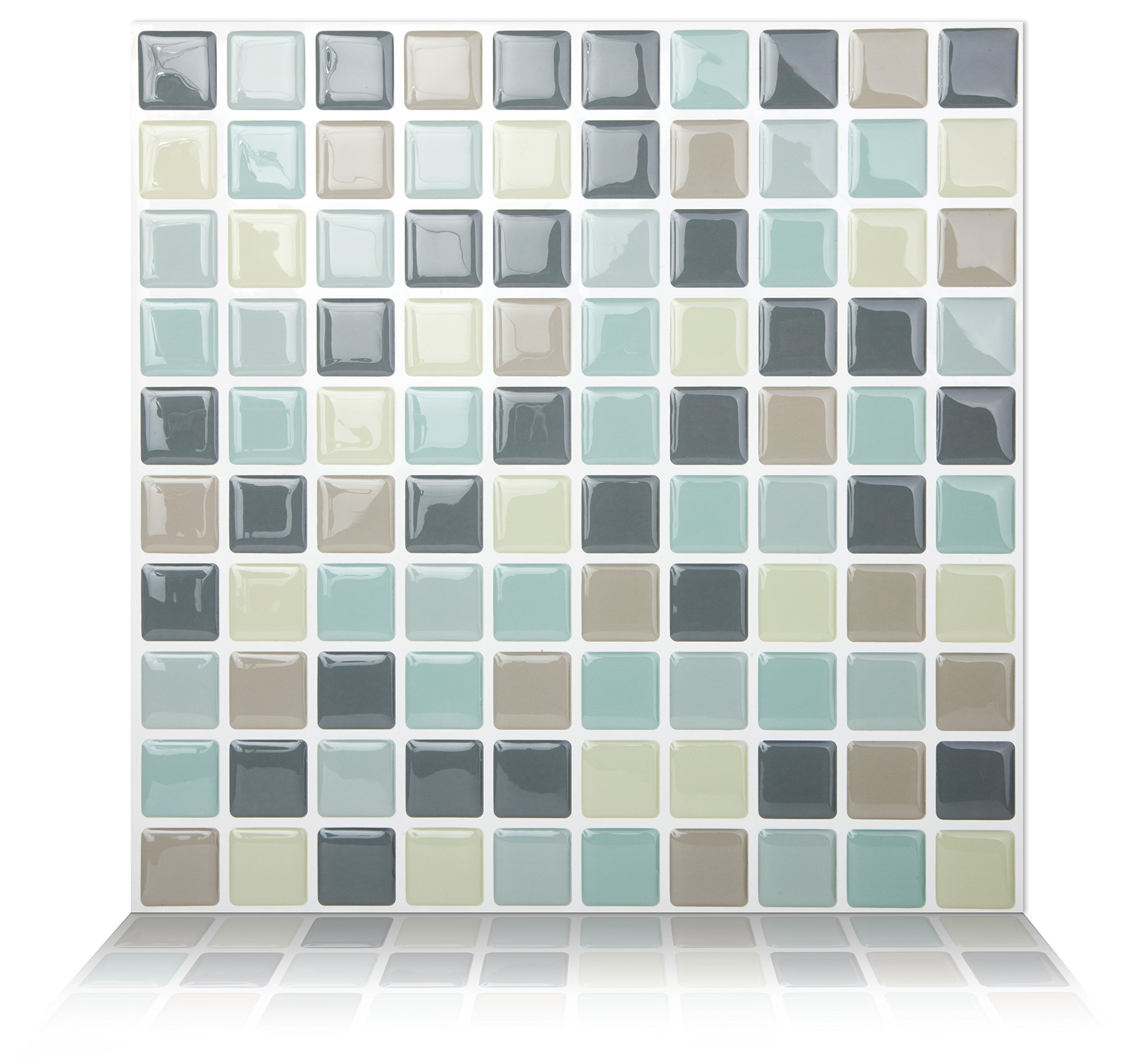 Tic Tac Tile Anti-mold Peel and Stick Wall Tiles in Mosaic Mintgray (10 tiles)
