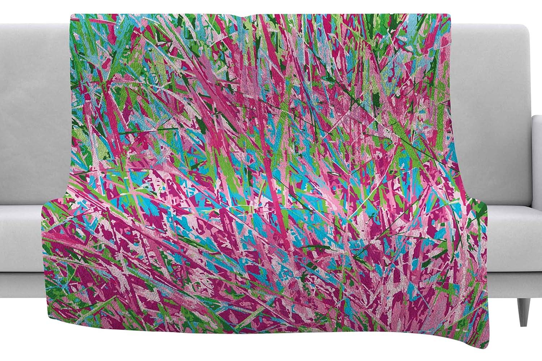 40 x 30 Fleece Blanket Kess InHouse Empire Ruhl Spring Grass Abstract Pink Teal Throw