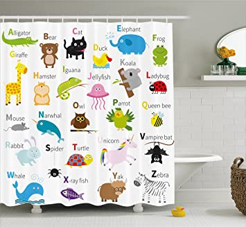 Amazon Ambesonne Animal Shower Curtain By Cute Zoo Creatures Turtle Unicorn Octopus Ladybug Frog Cat Giraffe Duck Kids Display Fabric Bathroom Decor