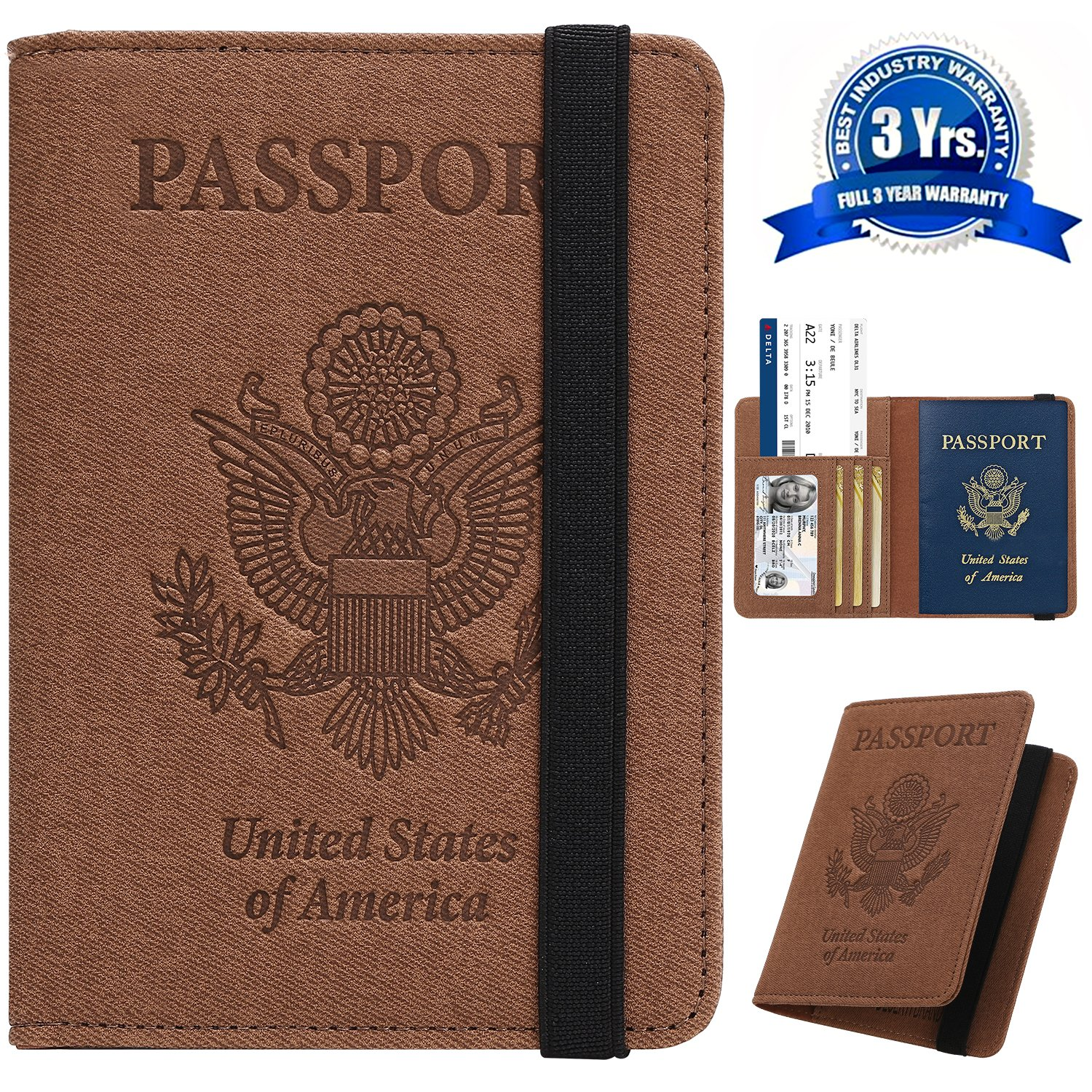 70caf7f82ca3 Passport Holder Cover Wallet Case - DESERTI BRANDS Leather RFID Blocking  For Women Men - Brown