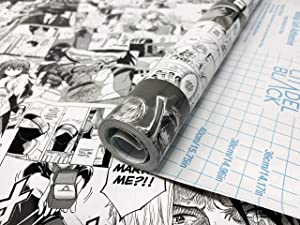 """Citadel Black Manga Contact Paper 17.71""""x118"""" (45cmx300cm) Roll, Anime Inspired Self-Adhesive Shelf Drawer Liner, Counter Tops Tables, Water/Stain Resistant DIY Peel and Stick Glossy Finish"""