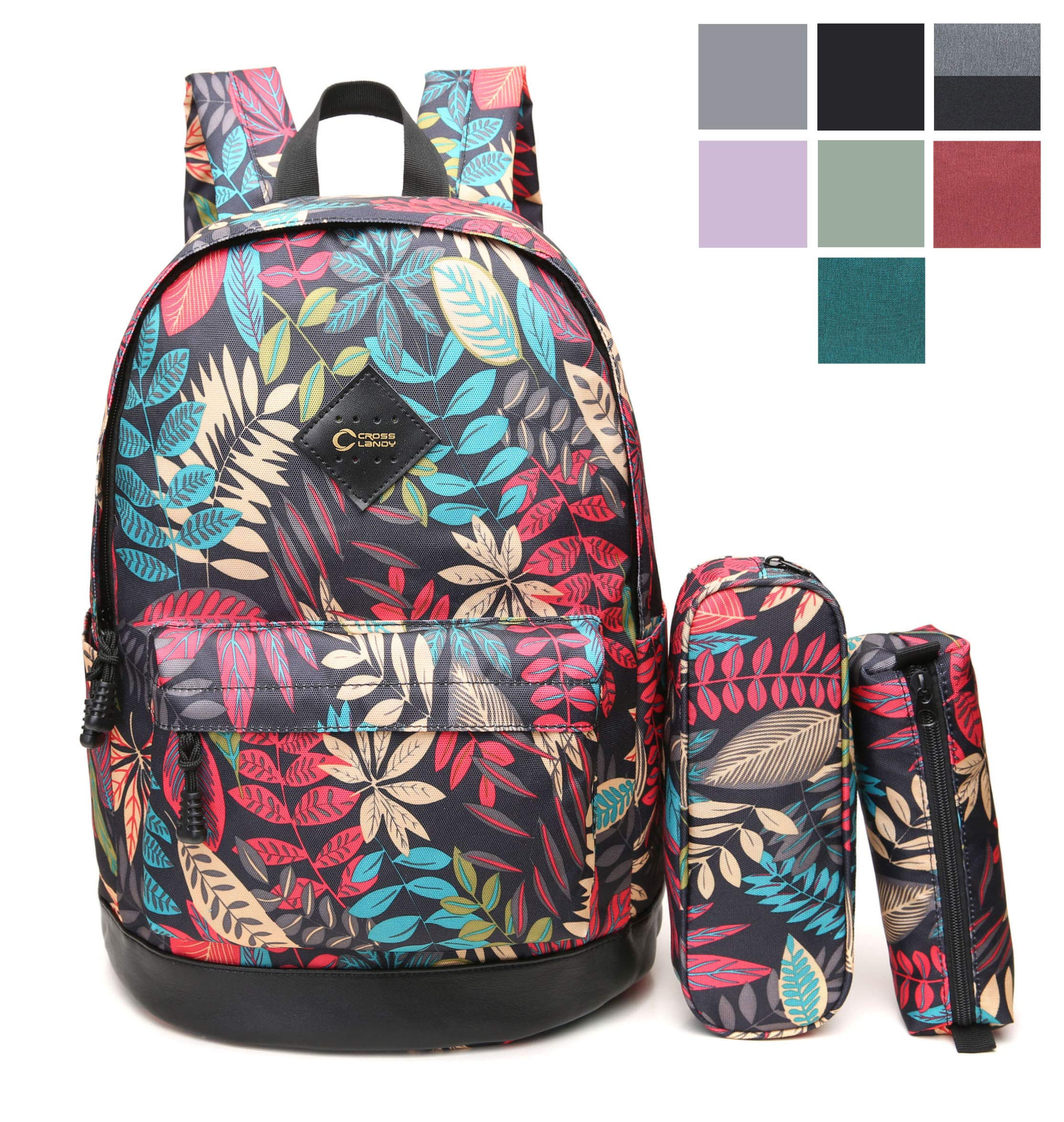 CrossLandy High School Bookbag Floral Print School Backpack Fits 15'' Laptop