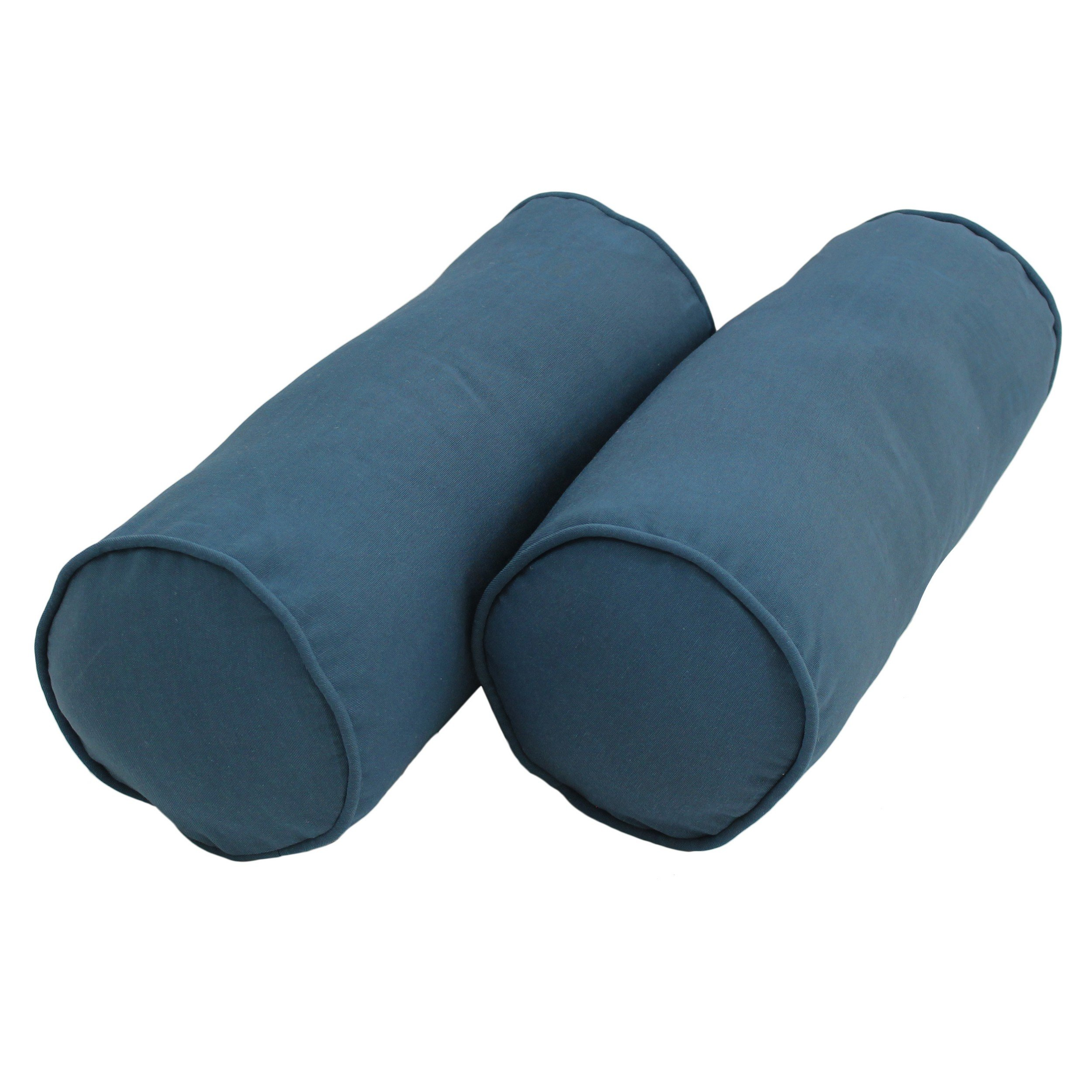 Blazing Needles Double-Corded Solid Twill Bolster Pillows with Inserts (Set of 2), 20'' x 8'', Indigo