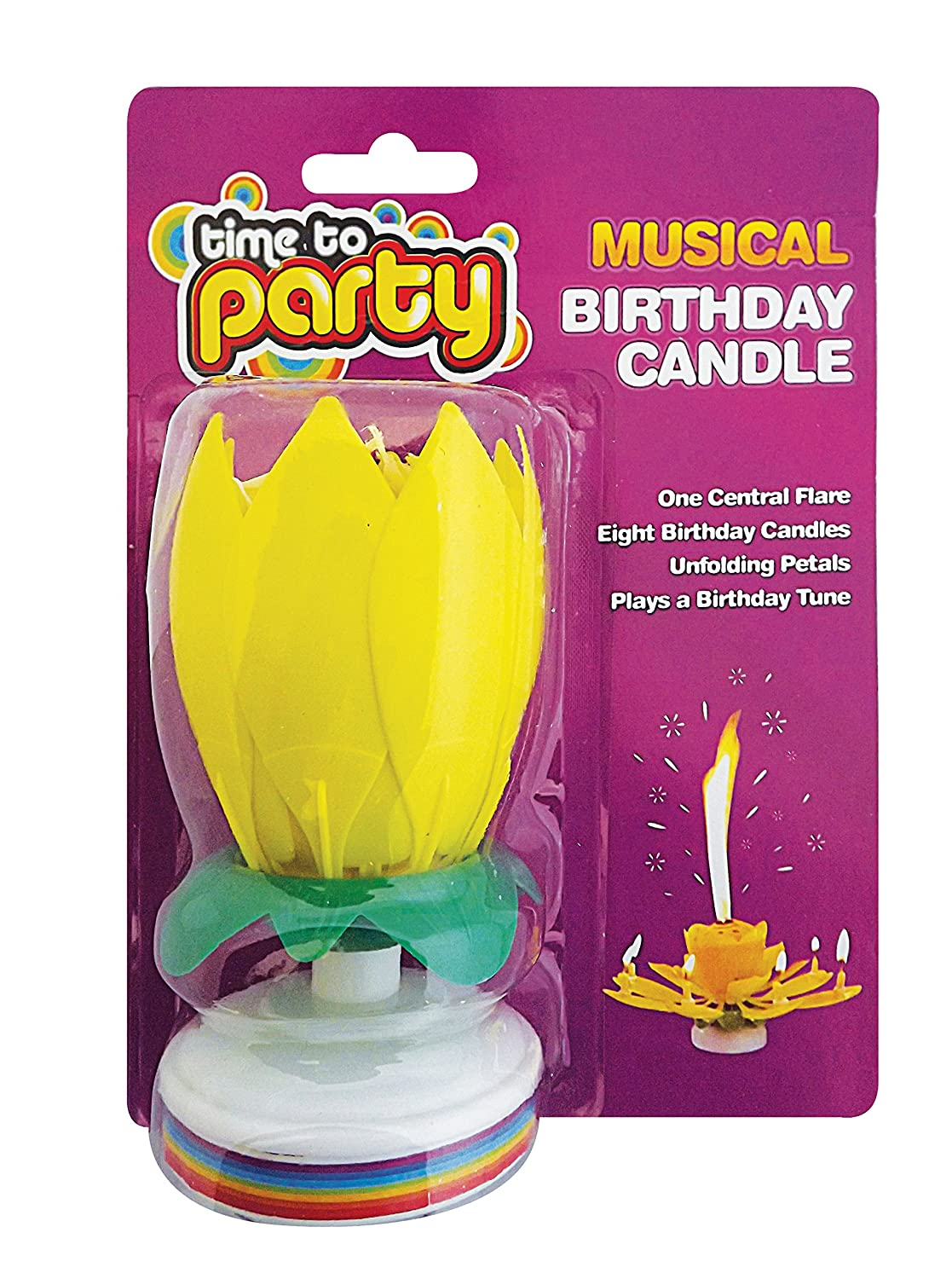 High Quality Yellow Musical Birthday Sparkling Fountain Party Candle Amazoncouk Toys Games