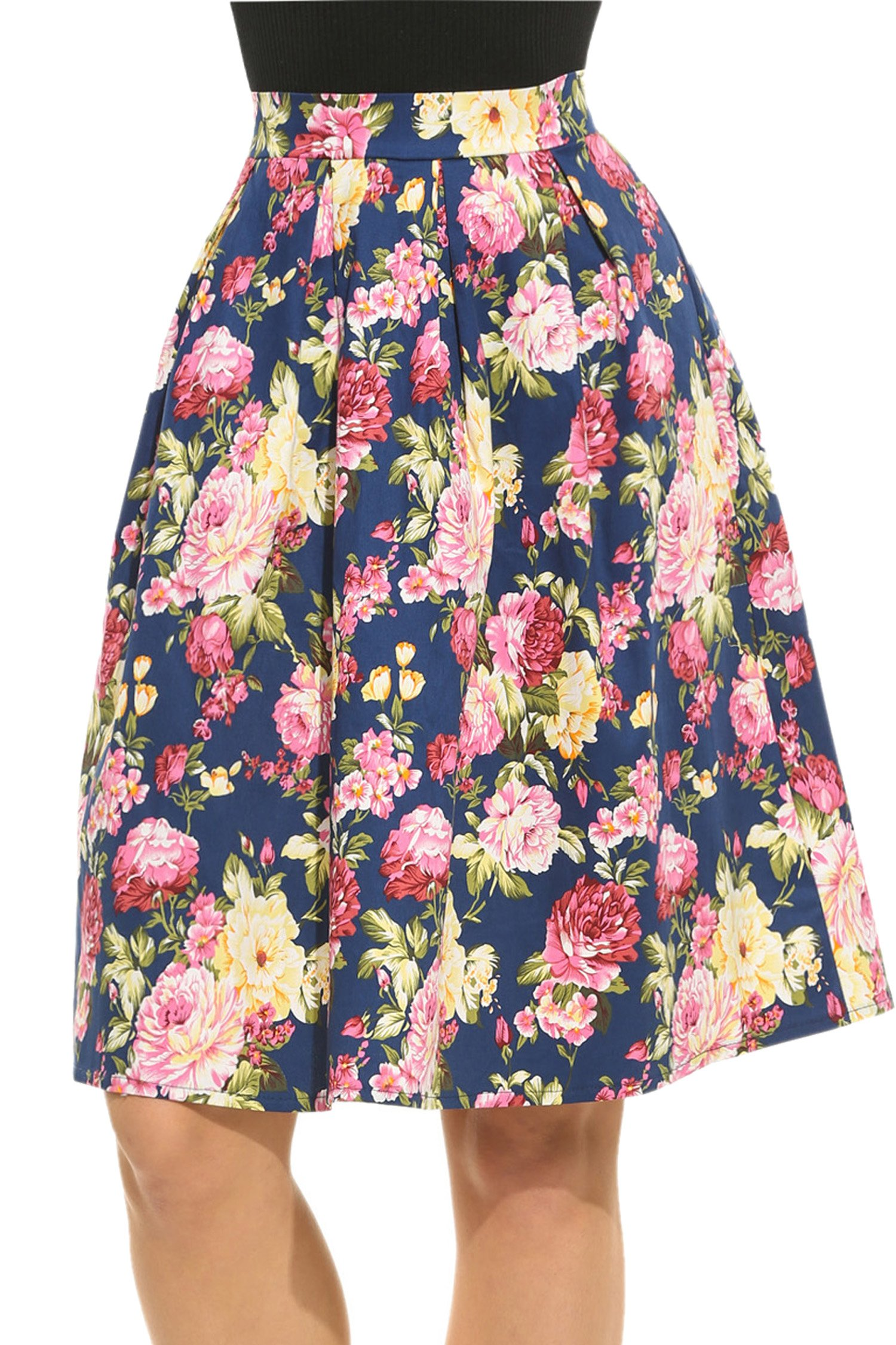 Meaneor Women's High Waisted A line Street Skirt Skater Pleated Full Midi Skirt by Meaneor (Image #1)