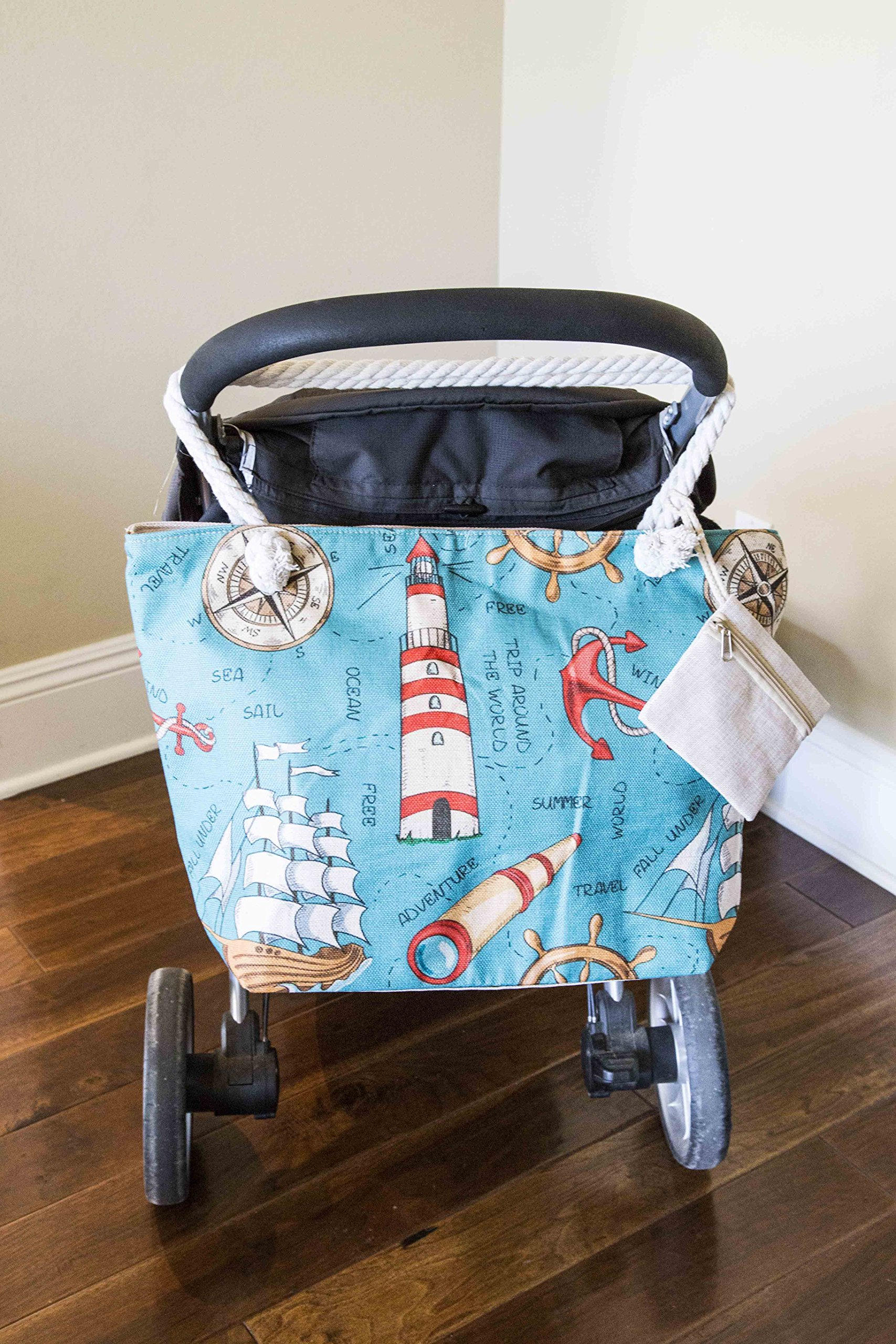 JJMG NEW Summer Beach Bag Stroller Friendly Women's Large Capacity Mom's Tote Beach Shoulder Bag With Rope Handles –Shopping Bag, Diaper Bag, Yoga Bag, Toys, Towels, Swim Suits, etc. by JJMG (Image #6)