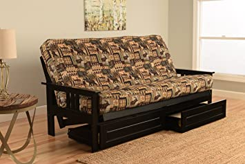 Mission Style Black Wood Frame Futon With Storage Drawers Convertible Full  Size Innerspring Mattress Cover